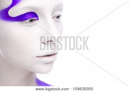 Art Fashion Girl With White Skin And Purple Paint On The Face. Creative Art Beauty.