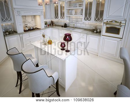 Luxury White Kitchen With A Breakfast Bar In Arabic Style.