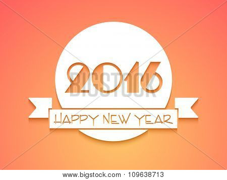 Elegant greeting card design with stylish text 2016 and glossy ribbon for Happy New Year celebration.