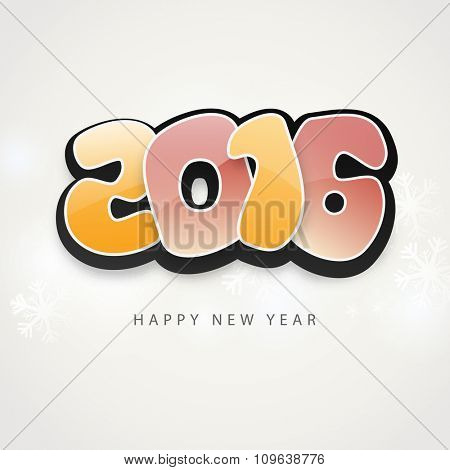 Stylish glossy text 2016 on snowflakes decorated grey background for Happy New Year celebration.