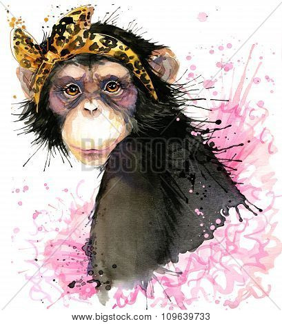 monkey T-shirt graphics, monkey chimpanzee illustration with splash watercolor textured backgro
