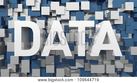 Extruded Data Text With Blue Abstract Backround Filled With Cubes