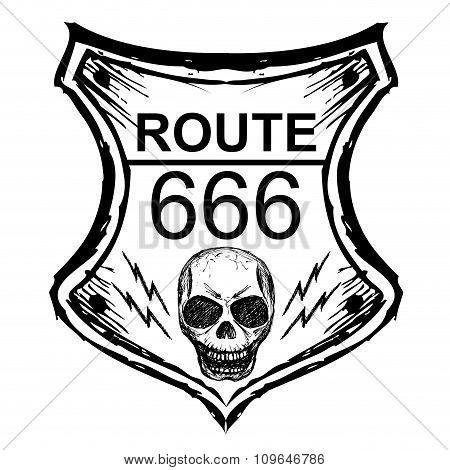 Black Route 666 Sign On A White Background