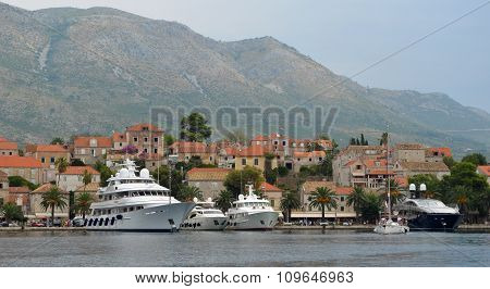 Cavtat harbor on the Croatian Coastline
