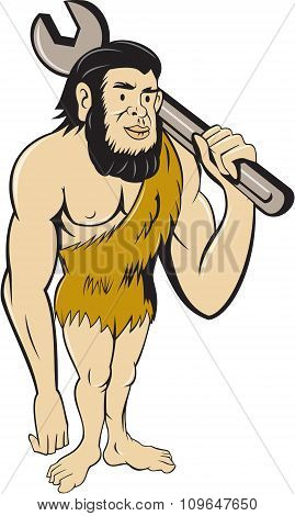 Neanderthal Caveman With Spanner Cartoon
