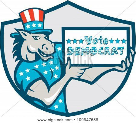 Vote Democrat Donkey Mascot Shield Cartoon