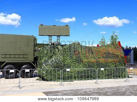 MOSCOW REGION  -   JUNE 17:  Camouflaged military object of the field radio communication complex -  on June 17, 2015 in Moscow region