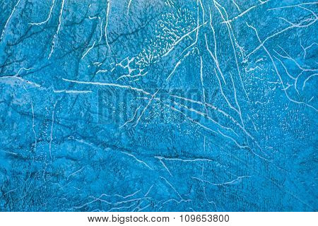 Linoleum With Blue Abstract Pattern With Bright Golden Streaks