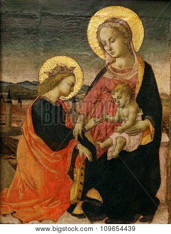 ZAGREB, CROATIA - DECEMBER 08: Maestro di San Miniato: Engagement of St. Catherine, Old Masters Collection, Croatian Academy of Sciences, December 08, 2014 in Zagreb, Croatia