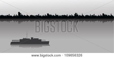 Sailing Ship And City Skyline