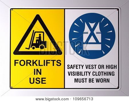 Fork lift truck warning and high visibility vest wall wall signs