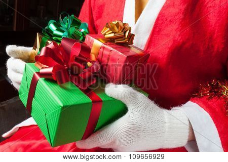Santa Claus holding gifts