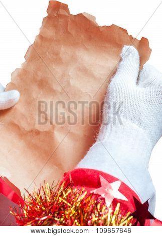 Santa Claus reeding a letter