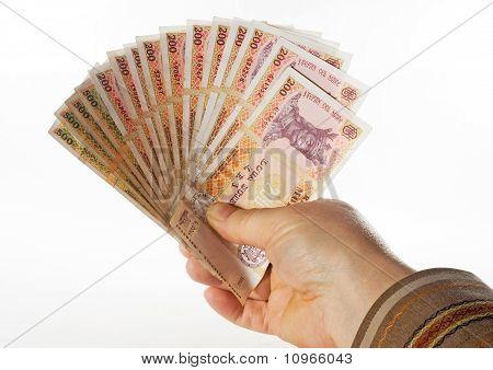 Hand Holds The Money Bills Fan