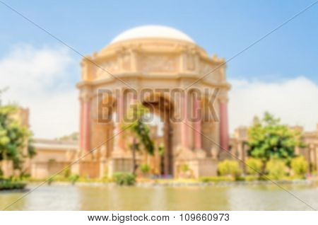 Defocused Background With The Palace Of Fine Arts, San Francisco, Usa