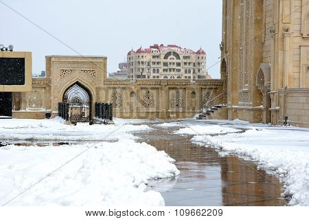 Snow outside within grounds of a Baku Mosque, in the capital of Azerbaijan