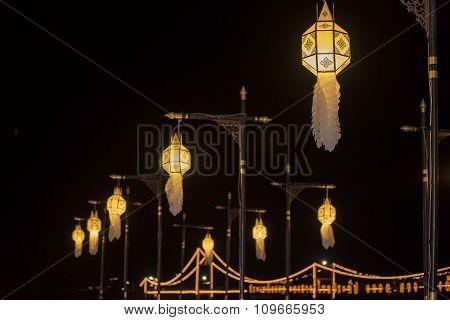 Lanna lantern, lanterns thai style decoration at Loi Krathong Sai Festival Tak, Thailand.