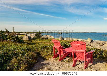 Red Chairs Facing Keji Seaside Beach