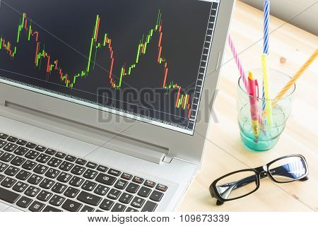 Stock Or Forex Graph In Laptop Screen