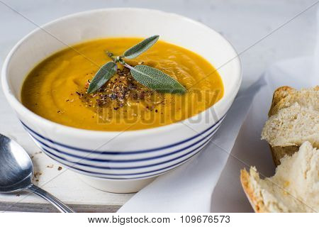 Bowl Of Organic Butternut Squash Soup Food