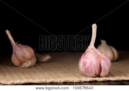 Garlic Bulb On The Dark Background