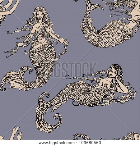 Seamless pattern with Beautiful mermaid girls. Hand drawn Illustration. Fairy tale background poster