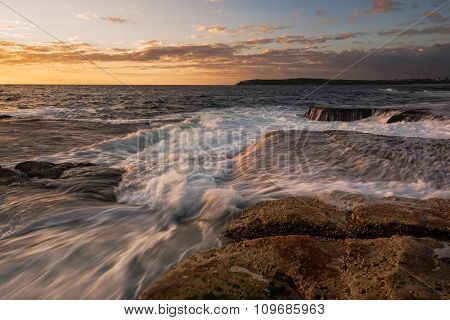 Textured Rushing Wave Seascape