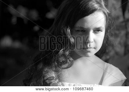 Portrait Of Serious Little Girl