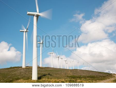 rotating turbines of windmills