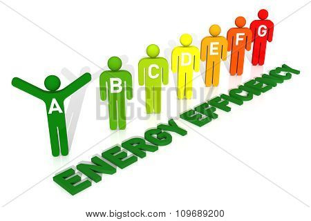 3D Pictogram Men, Energy Efficiency Concept, Isolated On White Background
