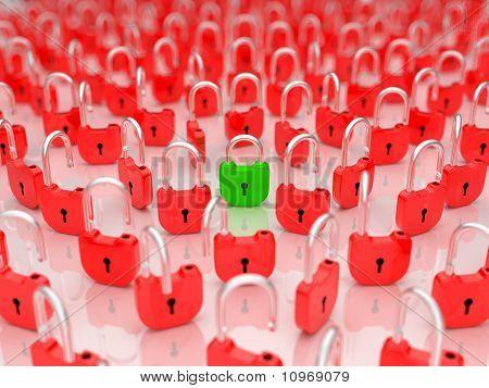 Opened Lock Among Locked Ones