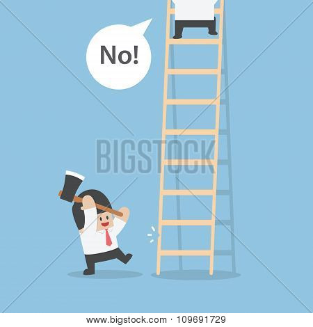 Businessman Destroy Ladder Of His Rival By Axe