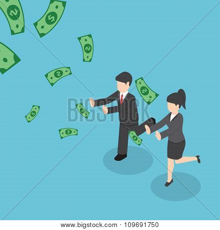 Isometric Businessman And Businesswoman Chasing Falling Dollar Money