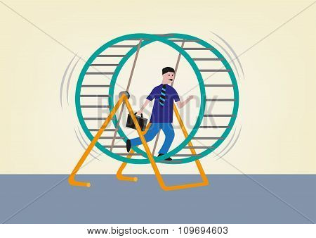 Businessman Running on a Hamster Wheel. Editable Clip Art.