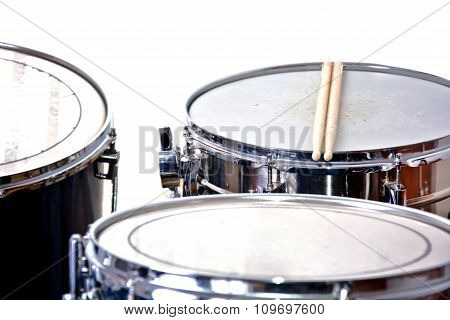 Drums Over Isolated White Background.