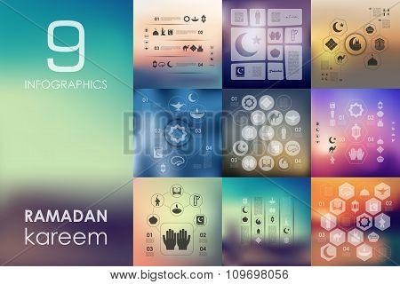 ramadan infographic with unfocused background