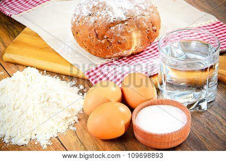 Bread, flour, egg, water. Baking