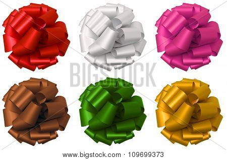 Collection of lush bow isolated over white, clipping path