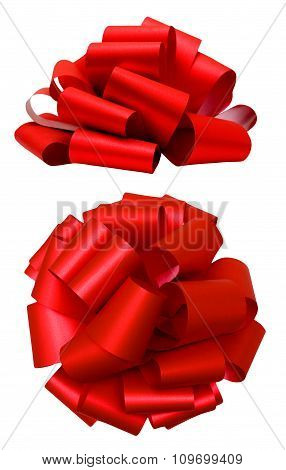 Red lush bow isolated over white, clipping path