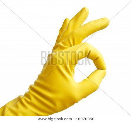 Ok with a yellow vinyl glove