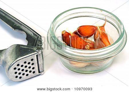 Garlic Cloves And Press On White Background