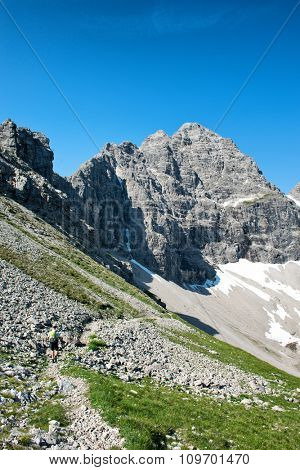 Hochvogel Mountain and Kalter Winkel snowfield in Germany. The Hochvogel is a 2,592 m high mountain in the Alps. The national border between Germany and Austria runs over the summit.