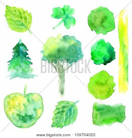 Hand Drawn Watercolor Nature Green Shapes Set