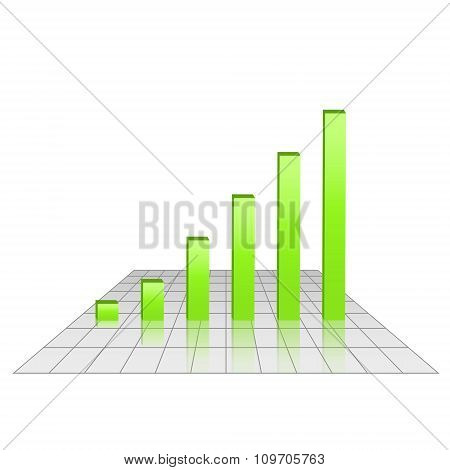 Bar Chart Of Rising Profits On Grid Glossy Surface