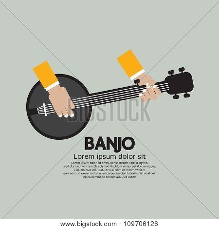Flat Design Banjo Playing.