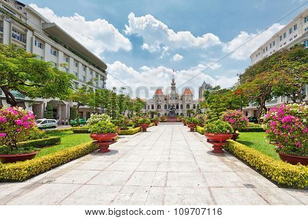 HO CHI MINH, VIETNAM 28 APRIL, 2014: Monument to Ho Chi Minh named