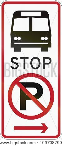 Road Sign In The Philippines - No Parking, Bus Stop