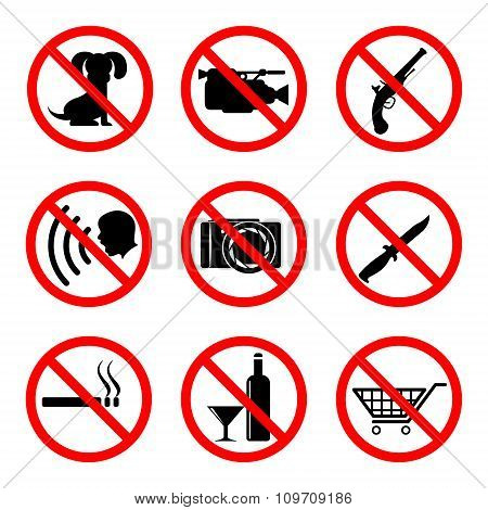 Do not icons set 9 main prohibiting signs 2d vector symbols eps 8 poster