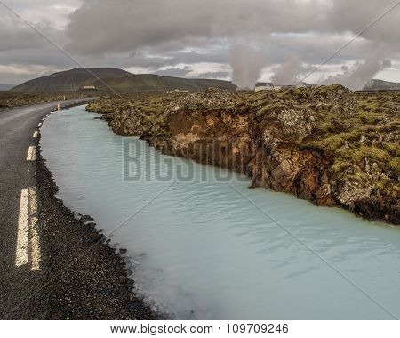 Road And Silica River Iceland