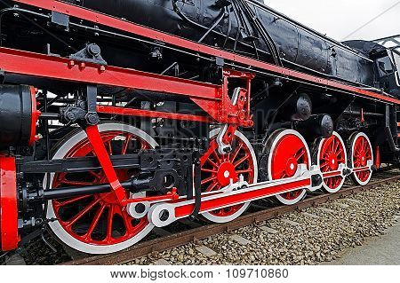 Detail And Close Up Of Huge Wheels At One Old German Steam Locomotive 6